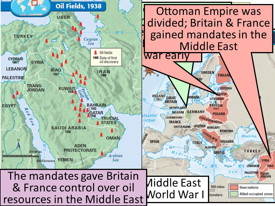 Europe & the Middle East Before & After World War I In addition, the Treaty of Versailles redrew the map of Europe & the Middle East Central Europe wa