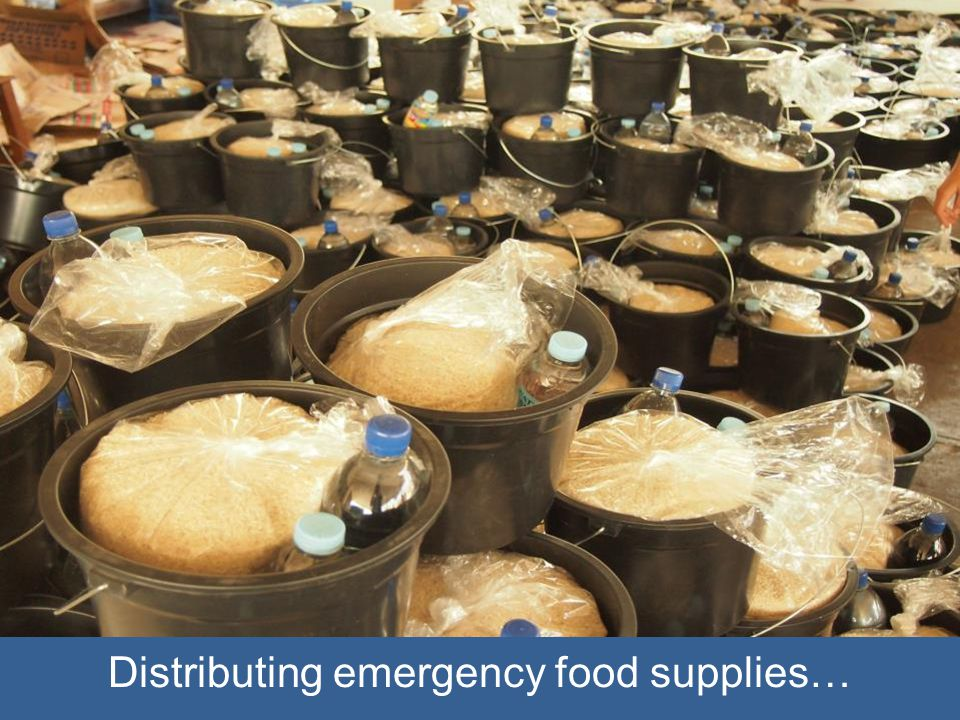 Distributing emergency food supplies…