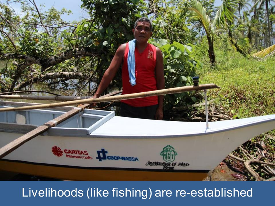 Livelihoods (like fishing) are re-established