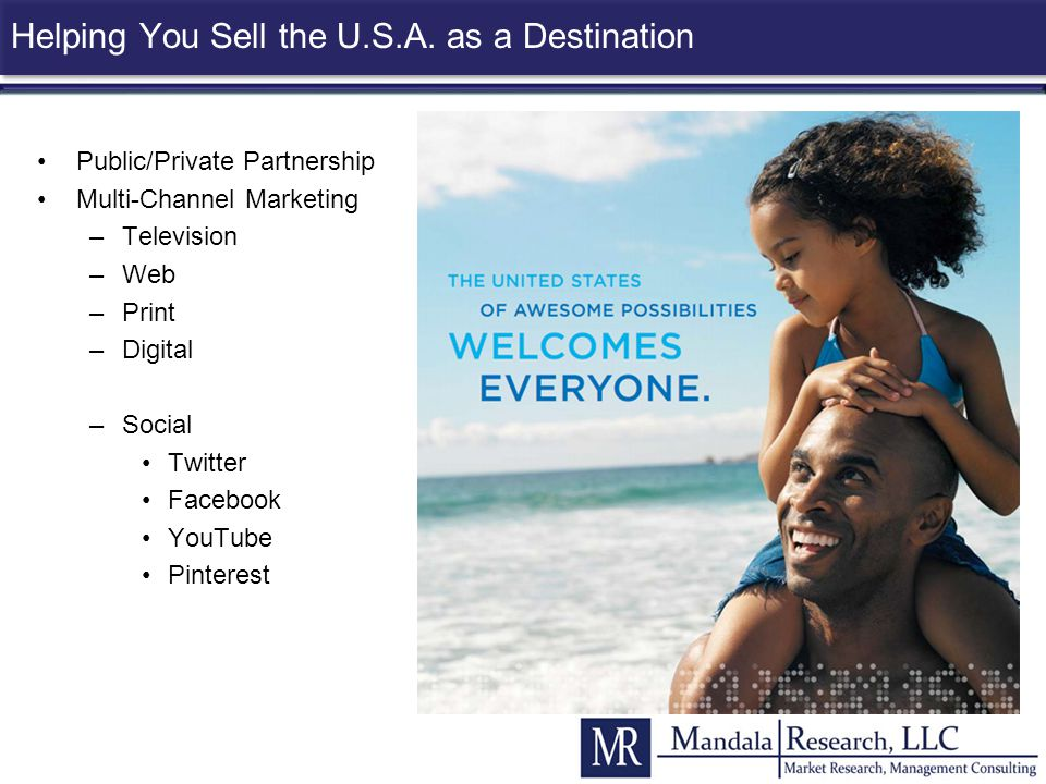 Helping You Sell the U.S.A. as a Destination Public/Private Partnership Multi-Channel Marketing –Television –Web –Print –Digital –Social Twitter Faceb