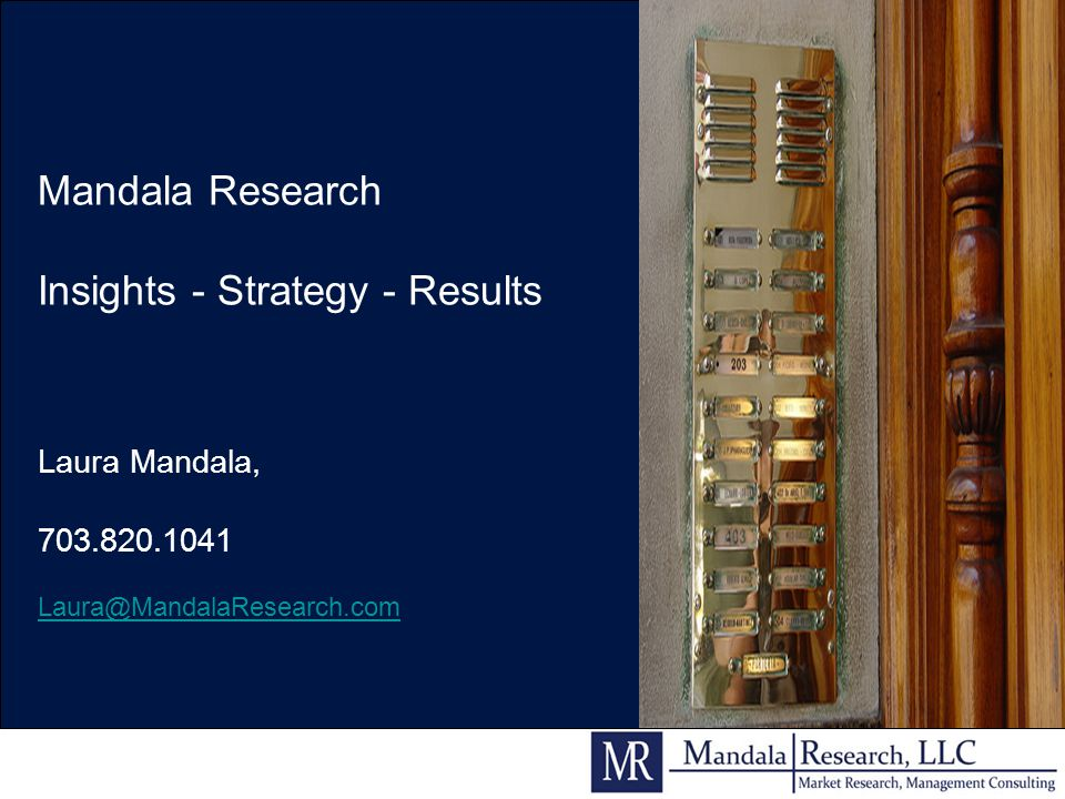 Mandala Research Insights - Strategy - Results Laura Mandala, 703.820.1041 Laura@MandalaResearch.com