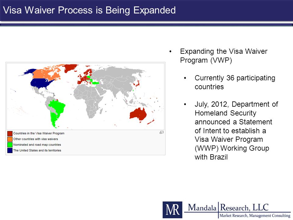 Visa Waiver Process is Being Expanded Expanding the Visa Waiver Program (VWP) Currently 36 participating countries July, 2012, Department of Homeland
