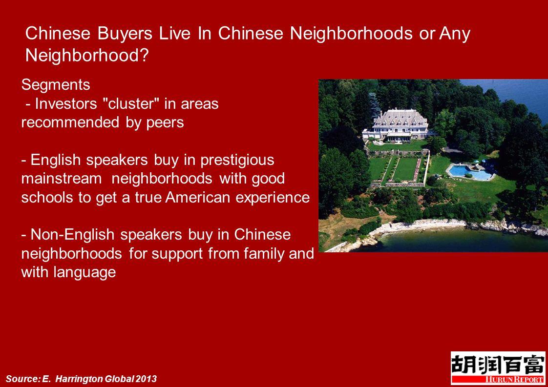 Chinese Buyers Live In Chinese Neighborhoods or Any Neighborhood.