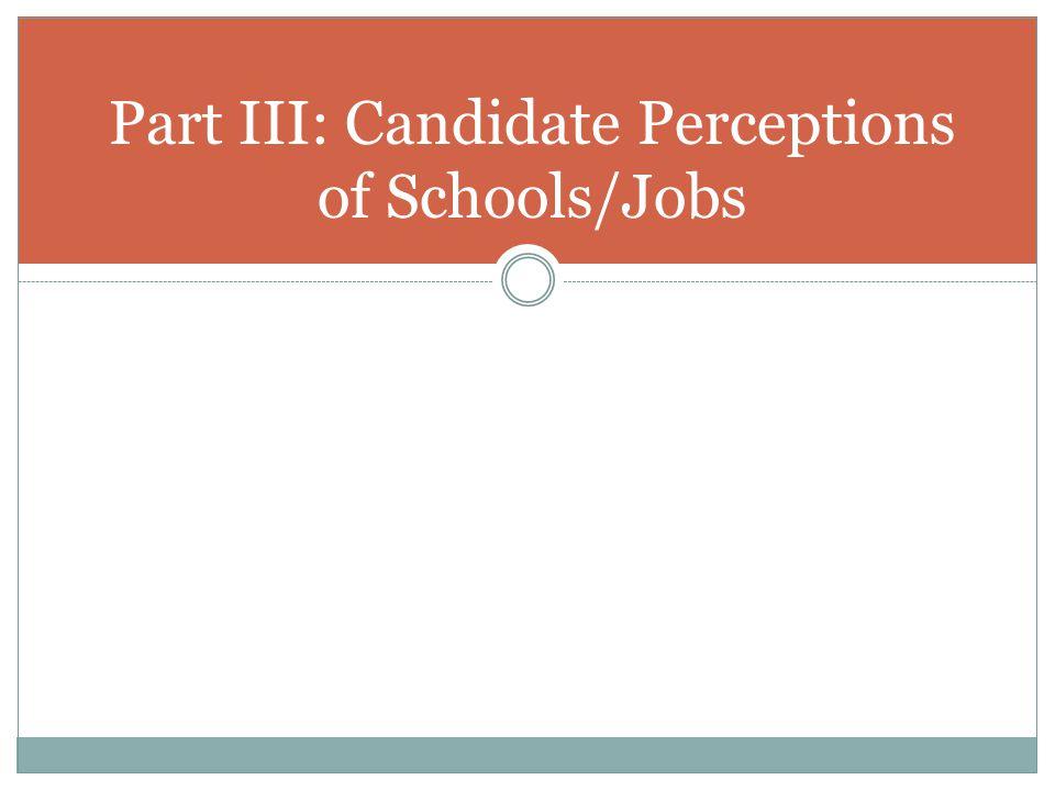 Part III: Candidate Perceptions of Schools/Jobs
