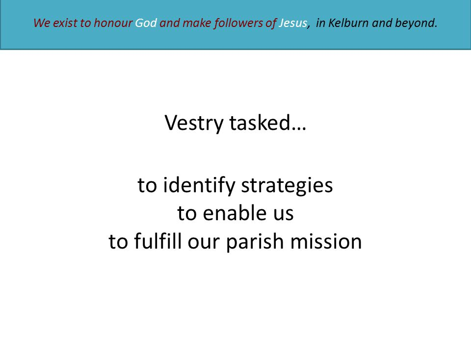 Vestry tasked… to identify strategies to enable us to fulfill our parish mission We exist to honour God and make followers of Jesus, in Kelburn and be