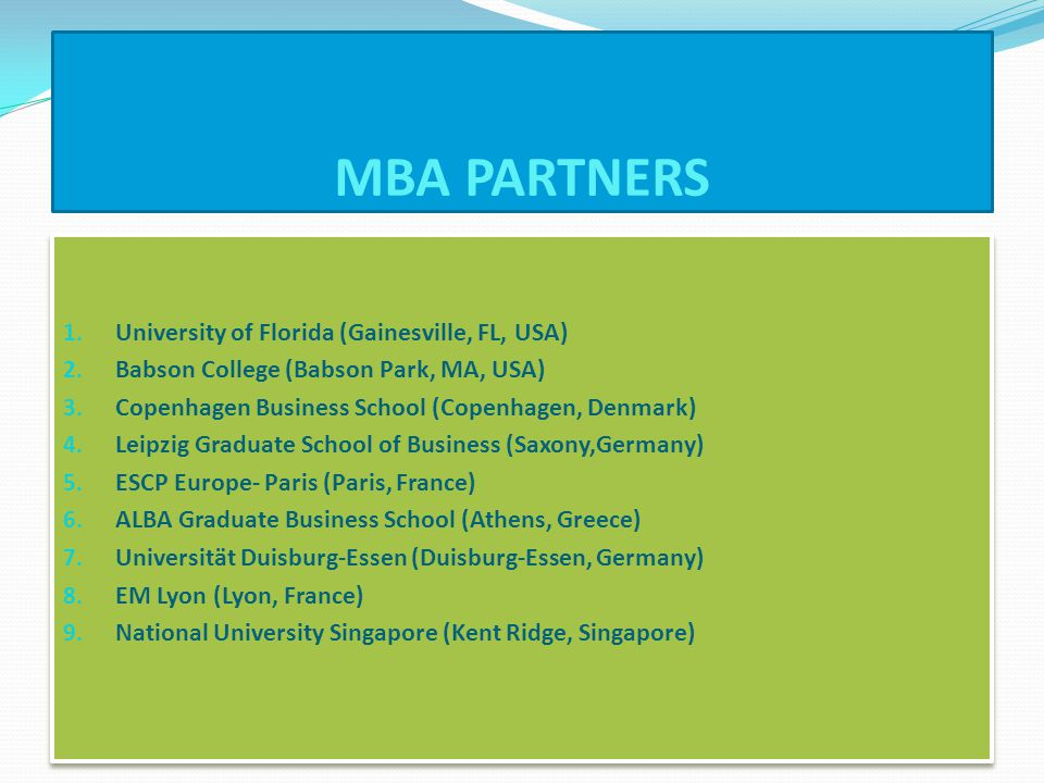 MBA PARTNERS 1. University of Florida (Gainesville, FL, USA) 2.