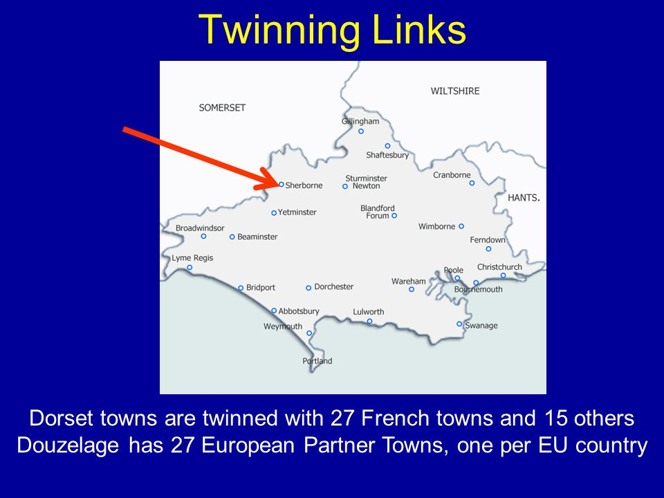 Twinning Links Dorset towns are twinned with 27 French towns and 15 others Douzelage has 27 European Partner Towns, one per EU country
