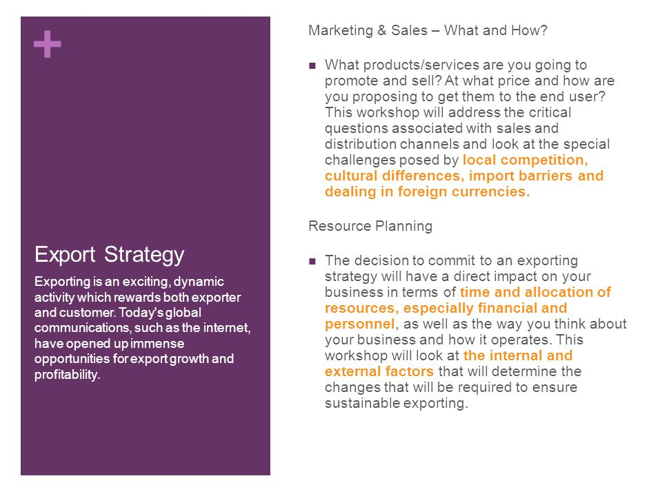 + Export Strategy Marketing & Sales – What and How.