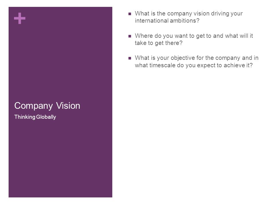 + Company Vision What is the company vision driving your international ambitions.