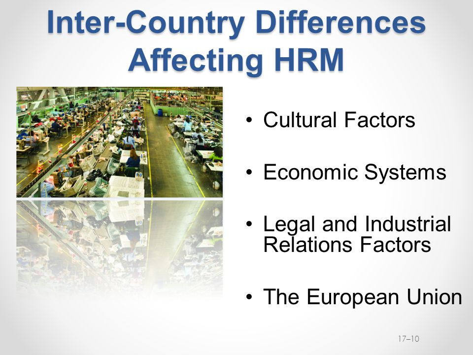 Inter-Country Differences Affecting HRM Cultural Factors Economic Systems Legal and Industrial Relations Factors The European Union 17–10