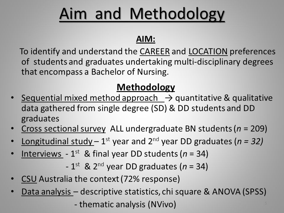 Aim and Methodology AIM: To identify and understand the CAREER and LOCATION preferences of students and graduates undertaking multi-disciplinary degrees that encompass a Bachelor of Nursing.