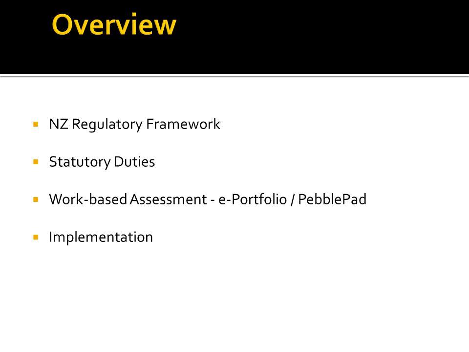  NZ Regulatory Framework  Statutory Duties  Work-based Assessment - e-Portfolio / PebblePad  Implementation