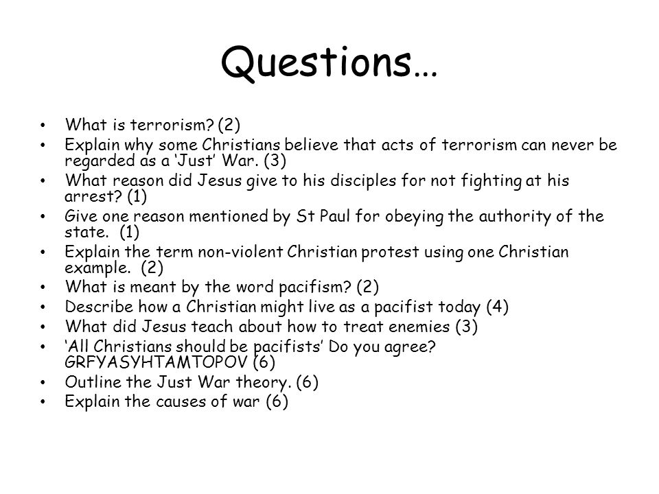 Questions… What is terrorism.