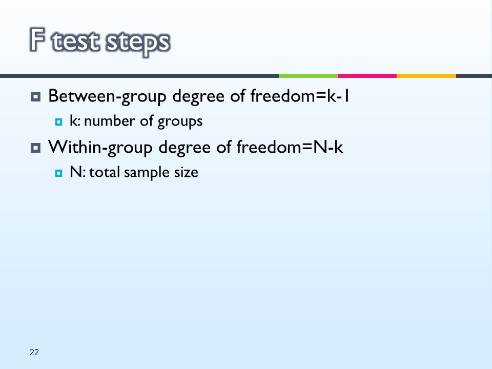  Between-group degree of freedom=k-1  k: number of groups  Within-group degree of freedom=N-k  N: total sample size 22