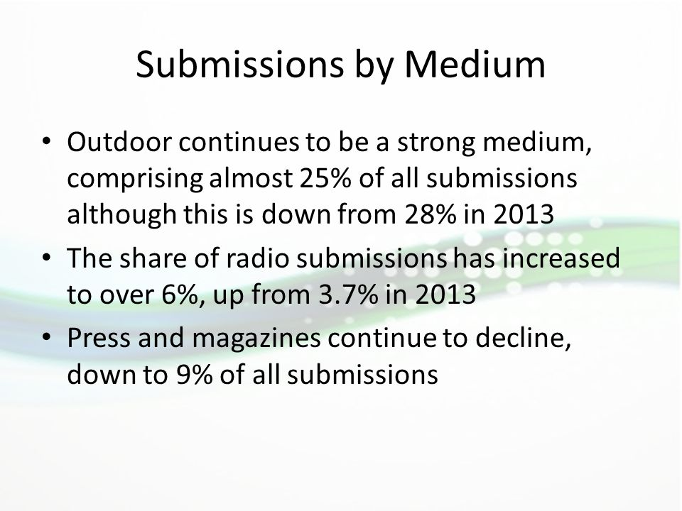 Submissions by Medium Outdoor continues to be a strong medium, comprising almost 25% of all submissions although this is down from 28% in 2013 The sha