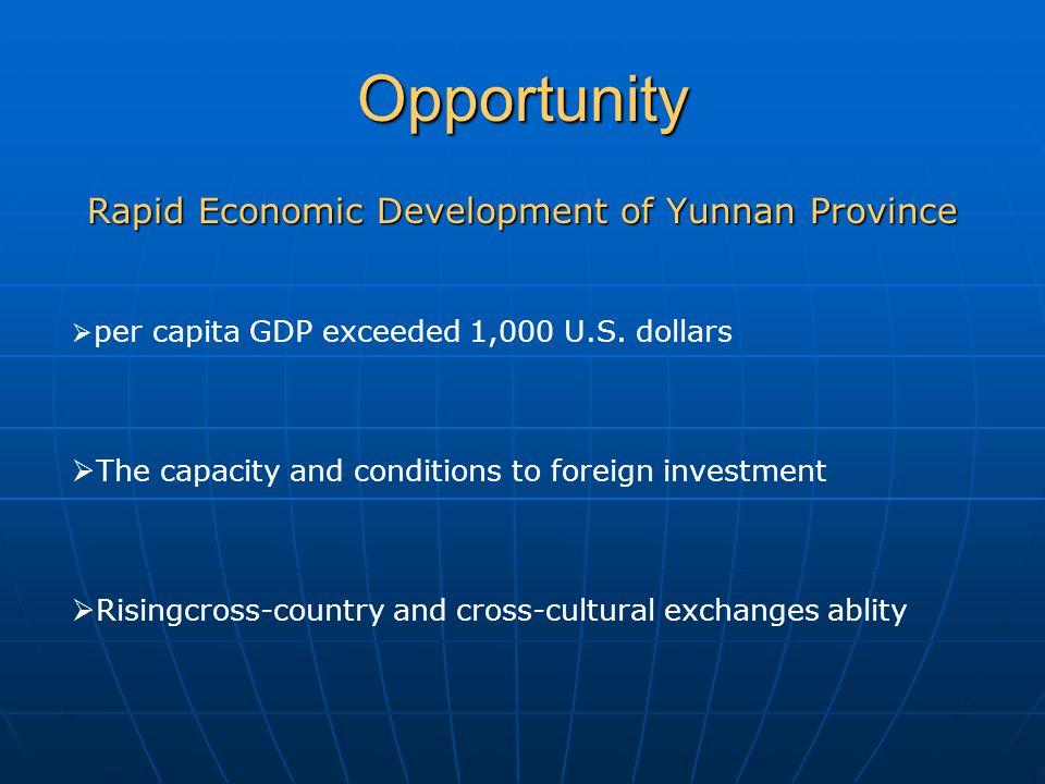 Opportunity Rapid Economic Development of Yunnan Province  per capita GDP exceeded 1,000 U.S.