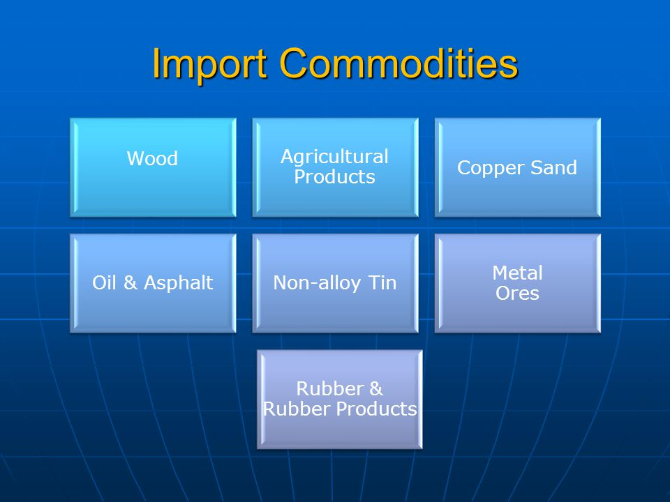Import Commodities Wood Agricultural Products Copper Sand Oil & AsphaltNon-alloy Tin Metal Ores Rubber & Rubber Products