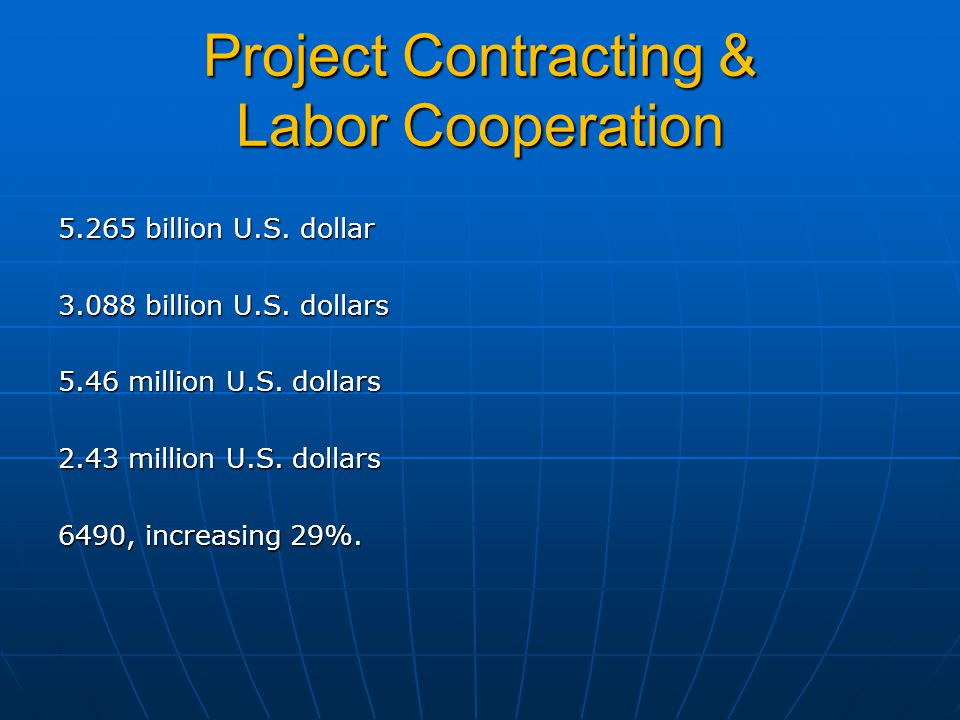 Project Contracting & Labor Cooperation 5.265 billion U.S.