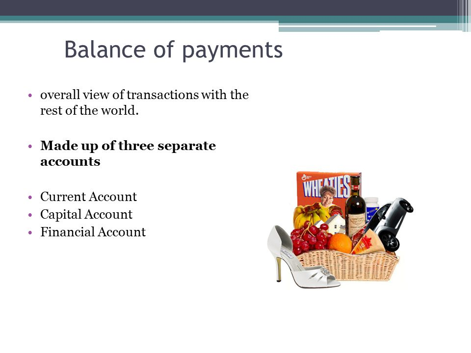Balance of payments overall view of transactions with the rest of the world.
