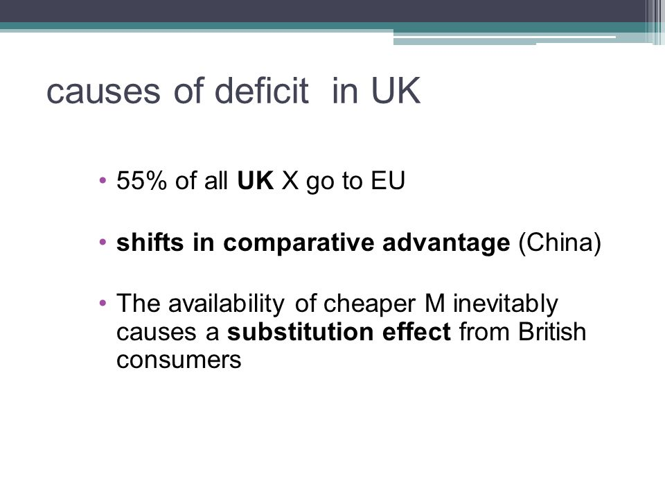 causes of deficit in UK 55% of all UK X go to EU shifts in comparative advantage (China) The availability of cheaper M inevitably causes a substitution effect from British consumers