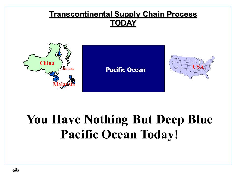 3 Transcontinental Supply Chain Process TODAY Pacific Ocean You Have Nothing But Deep Blue Pacific Ocean Today.