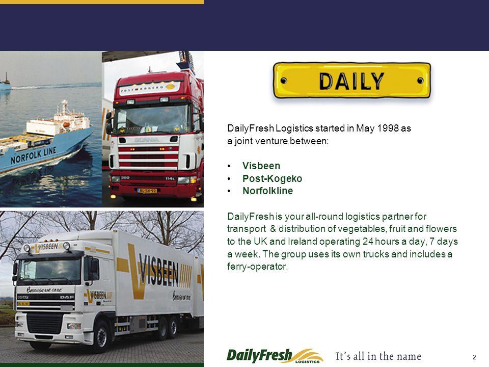 2 DailyFresh Logistics started in May 1998 as a joint venture between: Visbeen Post-Kogeko Norfolkline DailyFresh is your all-round logistics partner