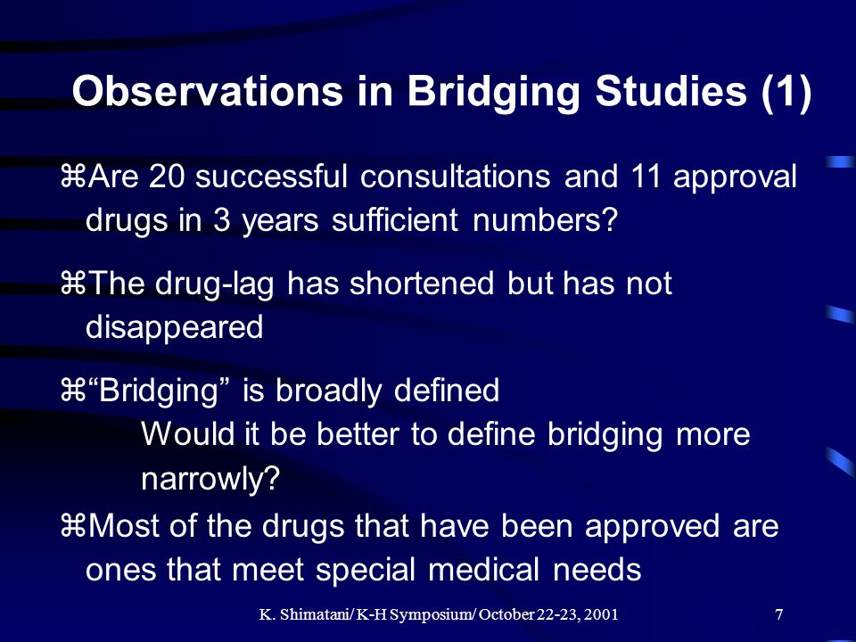 K. Shimatani/ K-H Symposium/ October 22-23, 20017 Observations in Bridging Studies (1) zAre 20 successful consultations and 11 approval drugs in 3 yea