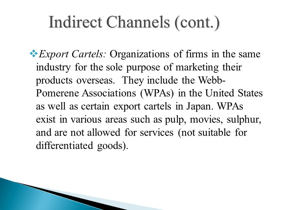 Export Cartels: Organizations of firms in the same industry for the sole purpose of marketing their products overseas.