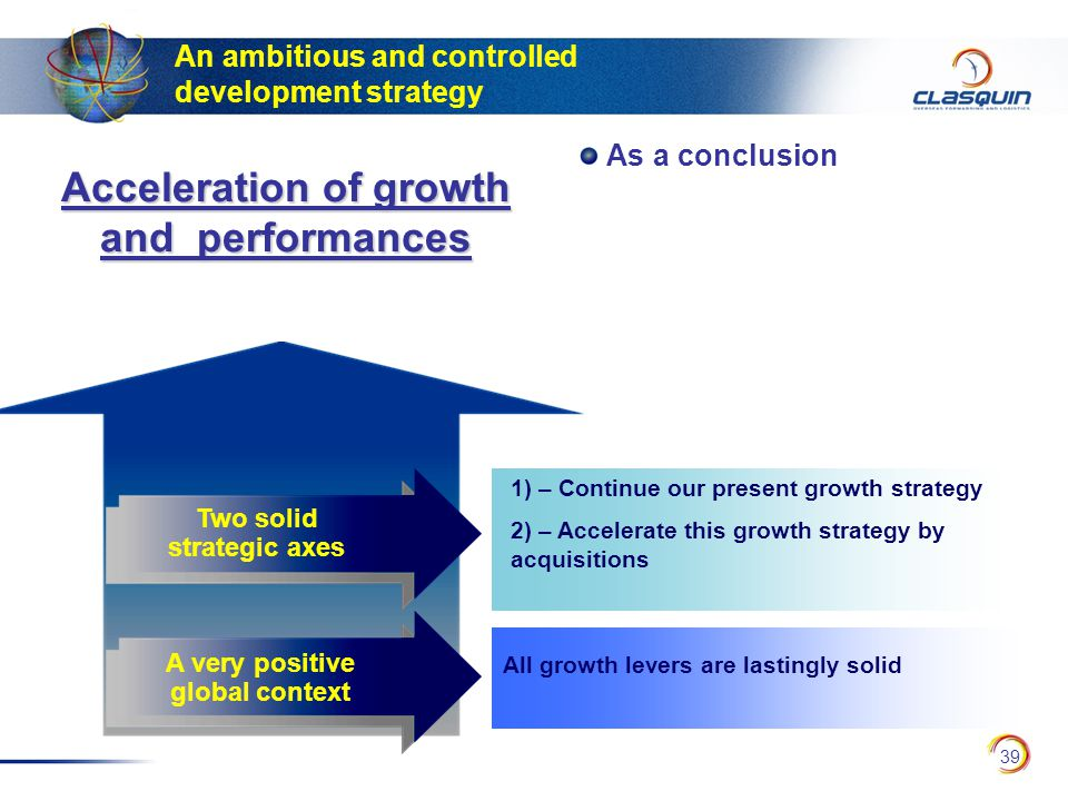 39 An ambitious and controlled development strategy Two solid strategic axes All growth levers are lastingly solid 1) – Continue our present growth strategy 2) – Accelerate this growth strategy by acquisitions A very positive global context Acceleration of growth and performances As a conclusion