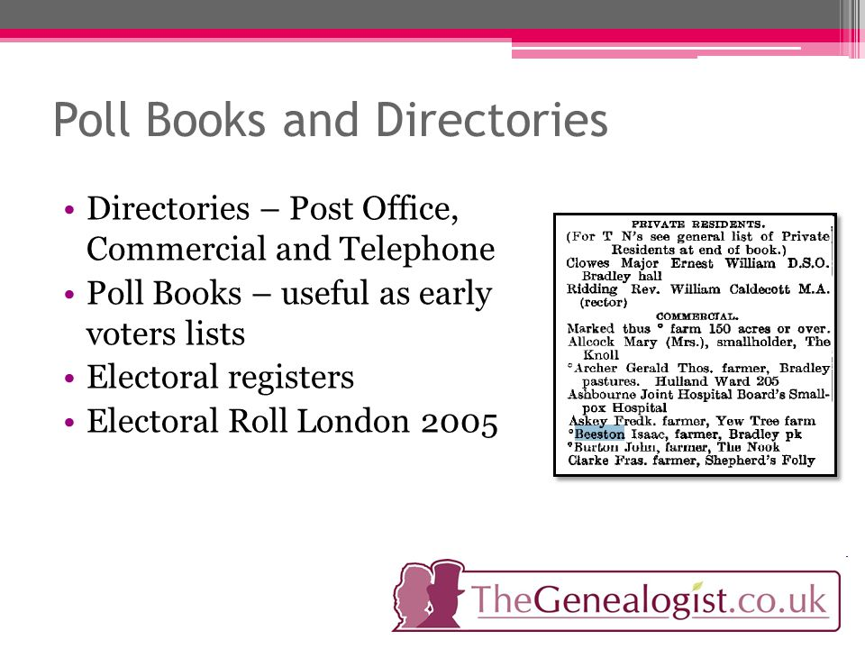 Poll Books and Directories Directories – Post Office, Commercial and Telephone Poll Books – useful as early voters lists Electoral registers Electoral Roll London 2005