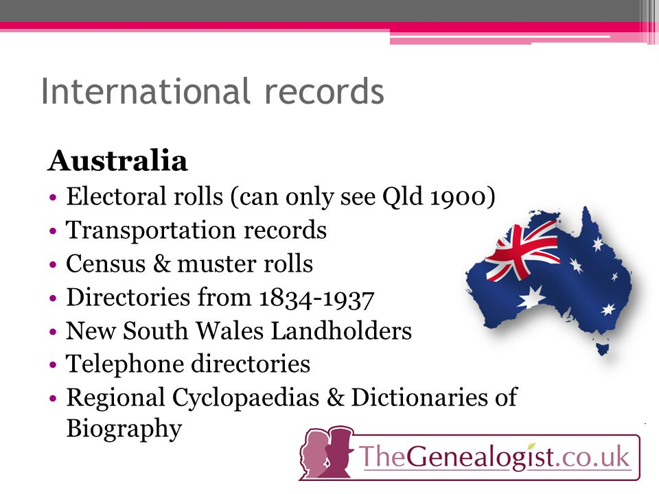 International records Australia Electoral rolls (can only see Qld 1900) Transportation records Census & muster rolls Directories from 1834-1937 New South Wales Landholders Telephone directories Regional Cyclopaedias & Dictionaries of Biography