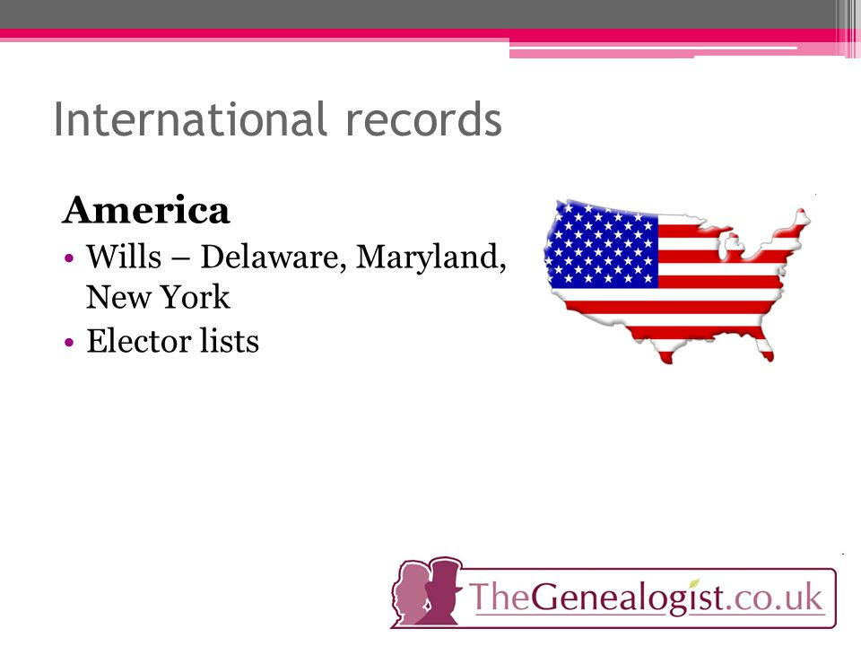 International records America Wills – Delaware, Maryland, New York Elector lists