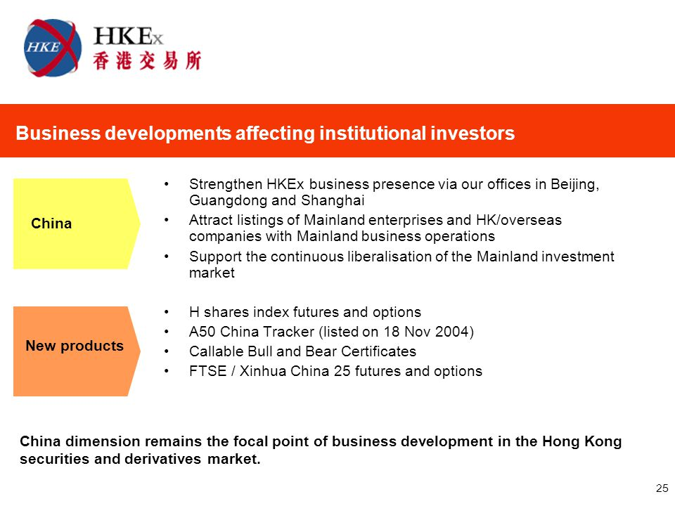 25 Strengthen HKEx business presence via our offices in Beijing, Guangdong and Shanghai Attract listings of Mainland enterprises and HK/overseas companies with Mainland business operations Support the continuous liberalisation of the Mainland investment market H shares index futures and options A50 China Tracker (listed on 18 Nov 2004) Callable Bull and Bear Certificates FTSE / Xinhua China 25 futures and options Business developments affecting institutional investors China New products China dimension remains the focal point of business development in the Hong Kong securities and derivatives market.