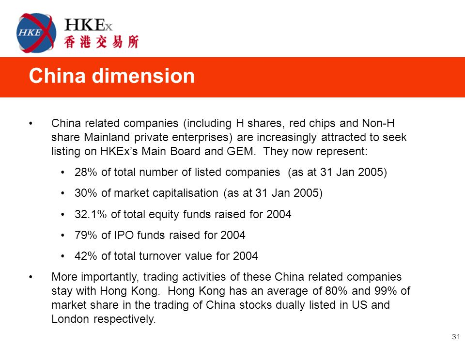 31 China dimension China related companies (including H shares, red chips and Non-H share Mainland private enterprises) are increasingly attracted to seek listing on HKEx's Main Board and GEM.