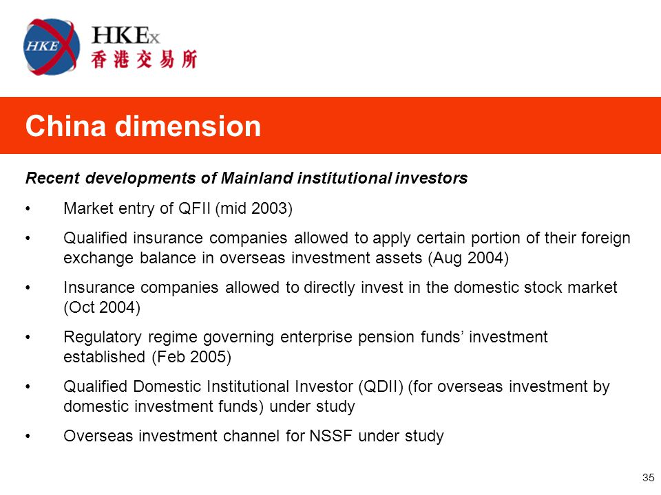 35 Recent developments of Mainland institutional investors Market entry of QFII (mid 2003) Qualified insurance companies allowed to apply certain portion of their foreign exchange balance in overseas investment assets (Aug 2004) Insurance companies allowed to directly invest in the domestic stock market (Oct 2004) Regulatory regime governing enterprise pension funds' investment established (Feb 2005) Qualified Domestic Institutional Investor (QDII) (for overseas investment by domestic investment funds) under study Overseas investment channel for NSSF under study China dimension
