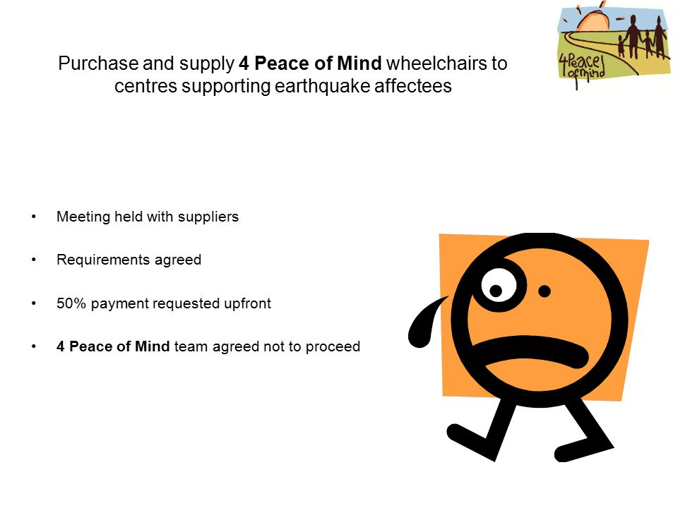 Purchase and supply 4 Peace of Mind wheelchairs to centres supporting earthquake affectees Meeting held with suppliers Requirements agreed 50% payment requested upfront 4 Peace of Mind team agreed not to proceed