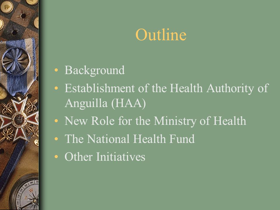 Role of the MoH After the devolution of the health services to the HAA, MoH maintained the following functions: Policy direction Strategic Planning for Health Regulatory/licensing functions Monitoring & Evaluation