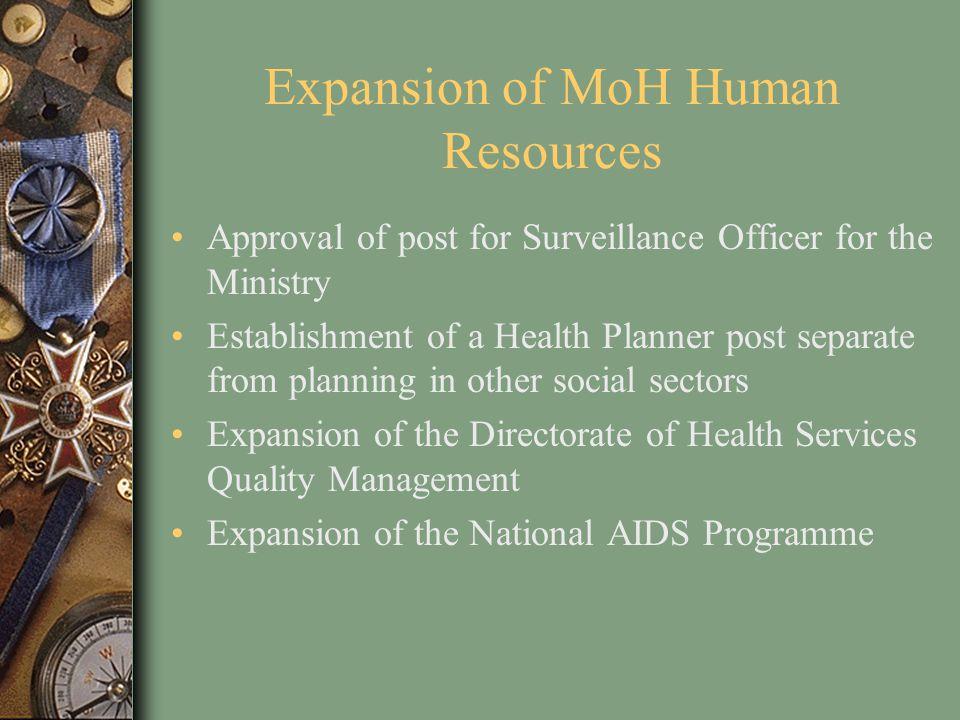 Expansion of MoH Human Resources Approval of post for Surveillance Officer for the Ministry Establishment of a Health Planner post separate from plann