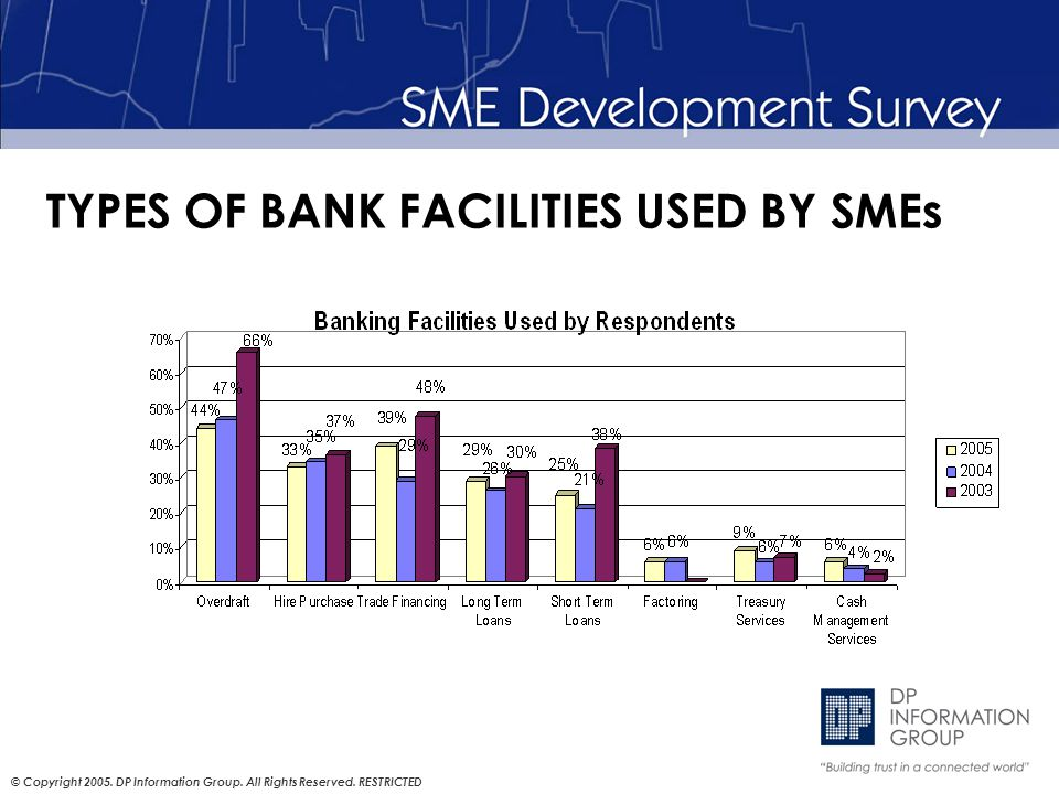 © Copyright 2005. DP Information Group. All Rights Reserved. RESTRICTED TYPES OF BANK FACILITIES USED BY SMEs