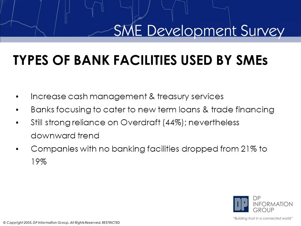 © Copyright 2005. DP Information Group. All Rights Reserved. RESTRICTED TYPES OF BANK FACILITIES USED BY SMEs Increase cash management & treasury serv