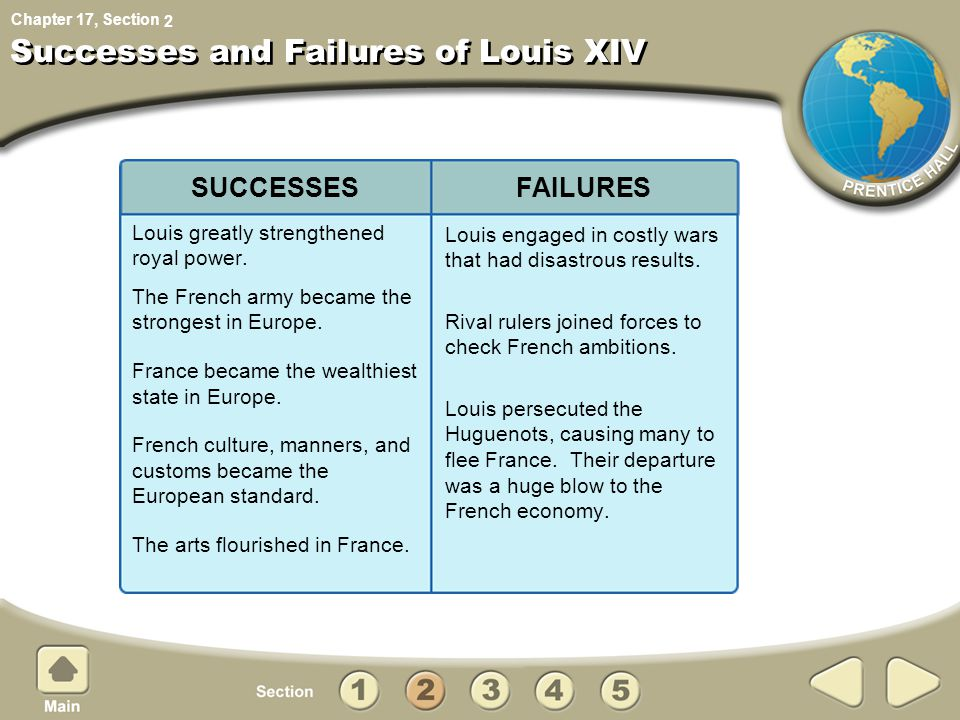 Chapter 17, Section Successes and Failures of Louis XIV Louis greatly strengthened royal power.