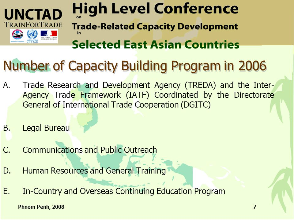 Phnom Penh, 20087 Number of Capacity Building Program in 2006 A.Trade Research and Development Agency (TREDA) and the Inter- Agency Trade Framework (I