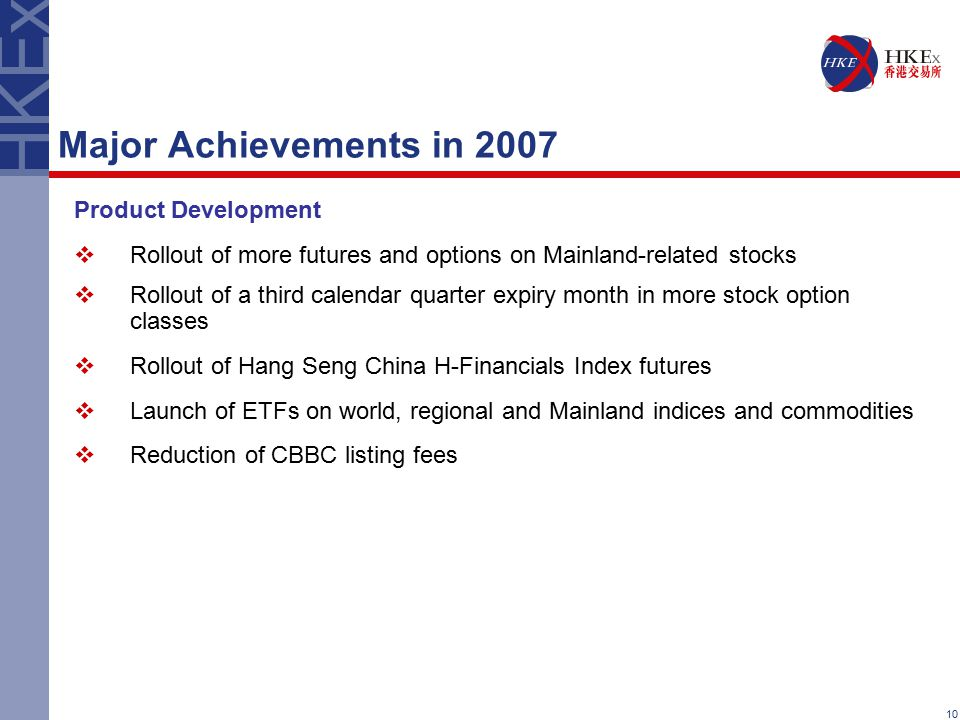 10 Major Achievements in 2007 Product Development  Rollout of more futures and options on Mainland-related stocks  Rollout of a third calendar quart