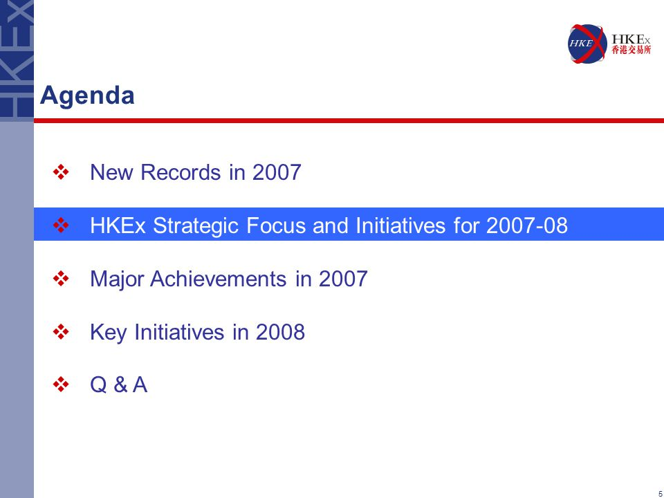 5 Agenda  New Records in 2007  HKEx Strategic Focus and Initiatives for 2007-08  Major Achievements in 2007  Key Initiatives in 2008  Q & A