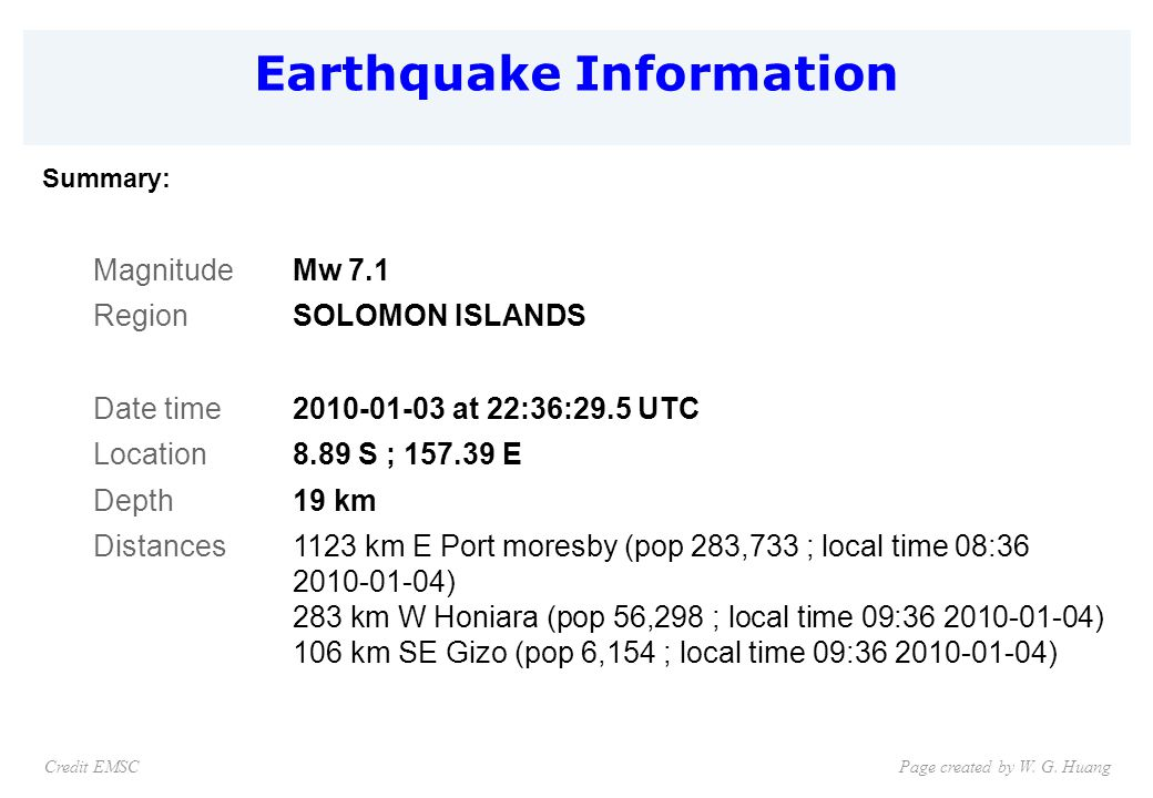 Earthquake Information Page created by W. G.