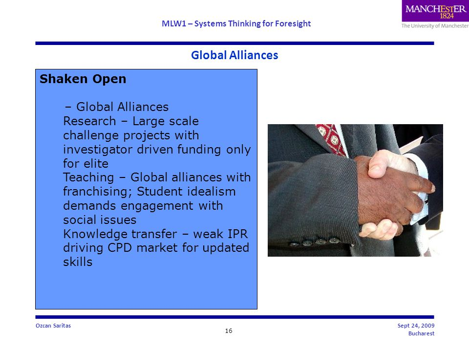 MLW1 – Systems Thinking for Foresight 16 Ozcan SaritasSept 24, 2009 Bucharest Global Alliances Shaken Open – Global Alliances Research – Large scale challenge projects with investigator driven funding only for elite Teaching – Global alliances with franchising; Student idealism demands engagement with social issues Knowledge transfer – weak IPR driving CPD market for updated skills