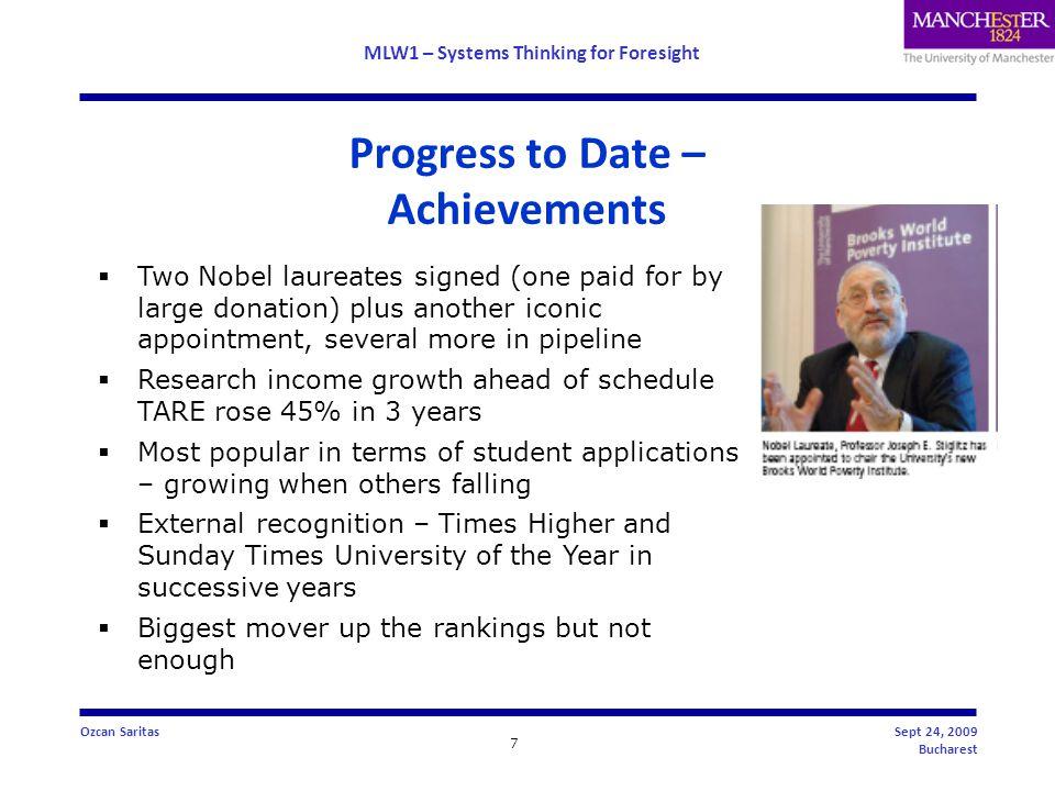 MLW1 – Systems Thinking for Foresight 8 Ozcan SaritasSept 24, 2009 Bucharest Tracking the ARWU - Academic Ranking of World Universities World ranking European ranking UK ranking 20084065 20074895 20065095 200553126 2004*78*24*9* * VUM only