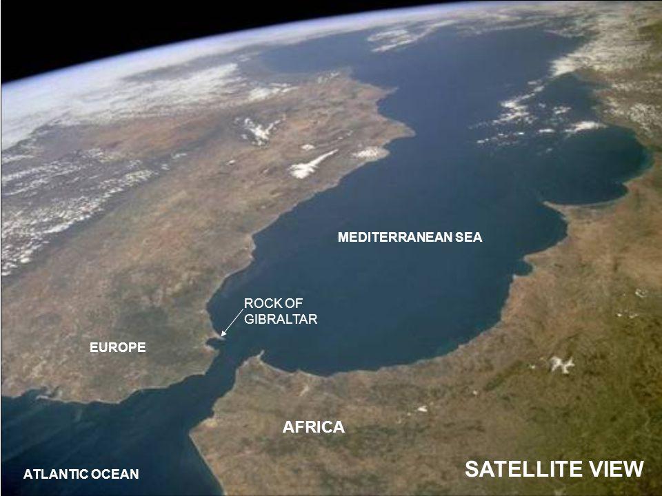ROCK OF GIBRALTAR AFRICA EUROPE ATLANTIC OCEAN MEDITERRANEAN SEA SATELLITE VIEW