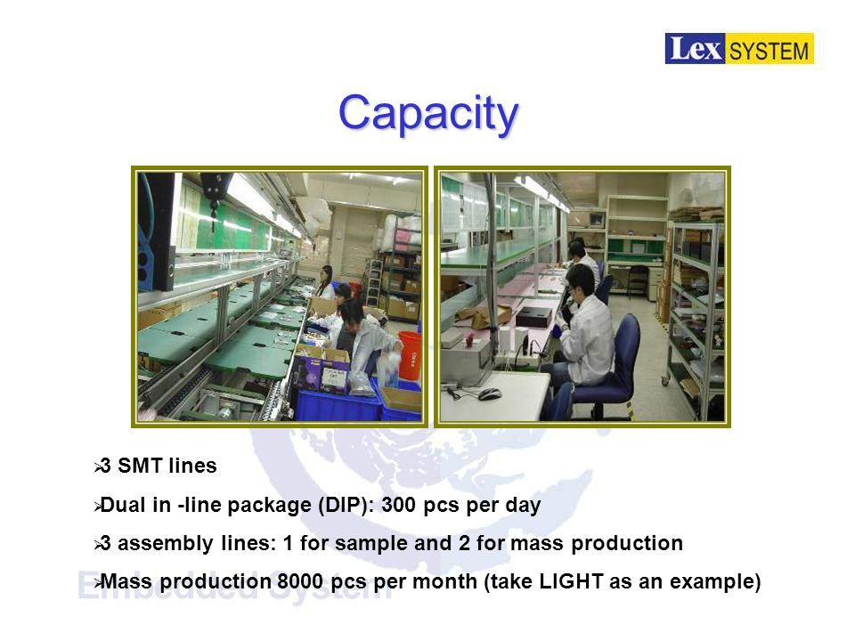 Capacity  3 SMT lines  Dual in -line package (DIP): 300 pcs per day  3 assembly lines: 1 for sample and 2 for mass production  Mass production 8000 pcs per month (take LIGHT as an example)