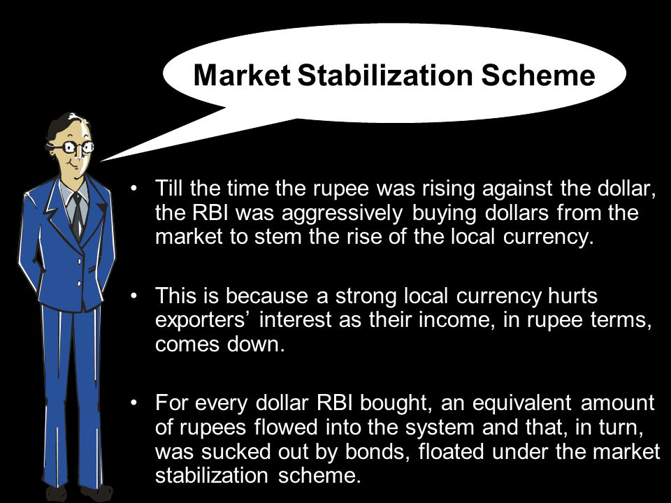 Market Stabilization Scheme Till the time the rupee was rising against the dollar, the RBI was aggressively buying dollars from the market to stem the rise of the local currency.